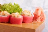 寿司金枪鱼扇贝蛋黄酱 — 图库照片