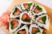 Sushi rolls with tuna and green onion — Stock Photo
