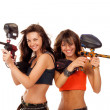 Stock Photo: Girls playing paintball
