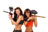 Girls playing paintball — Stock Photo