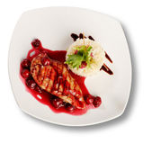 Delicious beef with cherry sauce. File includes clipping path fo — Foto de Stock