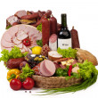 A composition of meat and vegetables with wine — Stock Photo #4720787