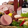 A composition of meat and vegetables with wine — Stock Photo #4720829
