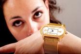 Clock and jewellery — Stock Photo