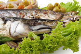 A fish set with vegetables — Stock Photo