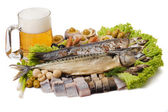 A Goblet of beer and a fish set — Stock Photo