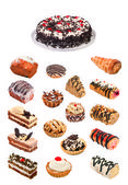Collage of cakes. File includes detailed clipping path — Stock Photo