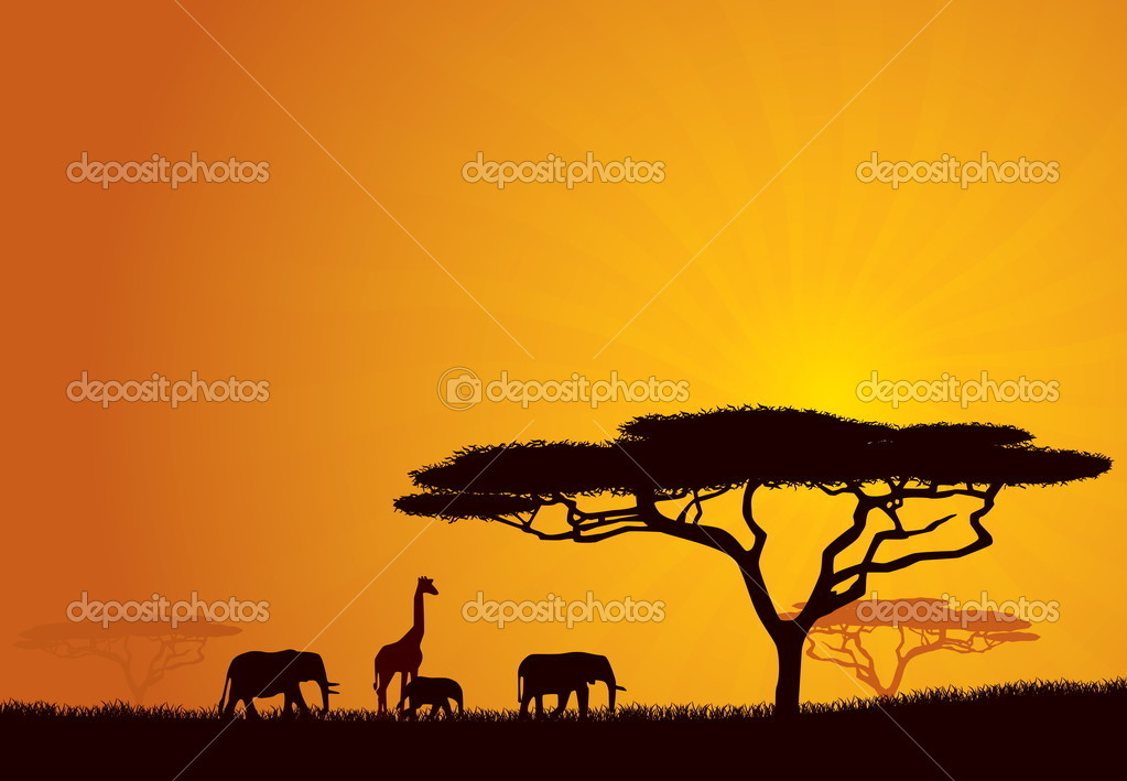 African Wildlife Background. Nature Background Series. — Stock Vector #4562928