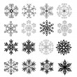 Stock Vector: Black and White Snowflakes Set