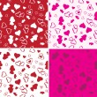 Seamless Love Background Set - Stok Vektr