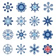 Retro Style Snowflakes Set - Stock Vector