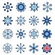 ensemble de flocons de neige de style rétro — Vecteur