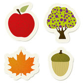 Autumn vector stickers set — Stock Vector