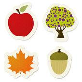 Set di adesivi autunno vettoriale — Vettoriale Stock