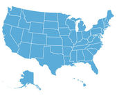Carte de vecteur aux états-unis — Vecteur