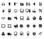 Video And Audio Icon Set — Vetor de Stock