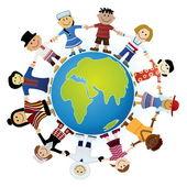 Kinderen van de wereld — Stockvector