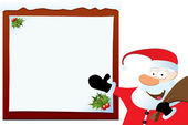 Santa Claus Pointing On Blank Board — Stock Vector