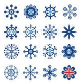 Conjunto de copos de nieve de estilo retro — Vector de stock