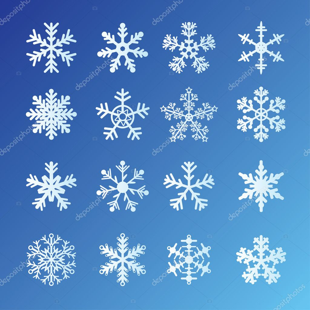 16 Snowflakes Set On Blue Background. Easy to edit vector. — ベクター素材ストック #4604638