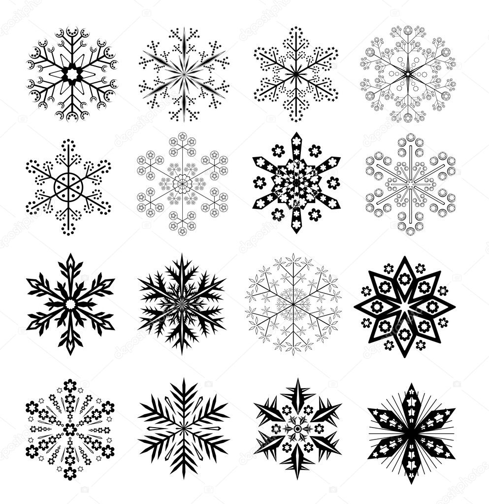 Set Of 16 Vector Black and White Snowflakes — Stock Vector #4604663