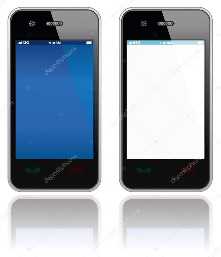 Modern mobile phones set. Vector objects collection. — Stock Vector #4604963