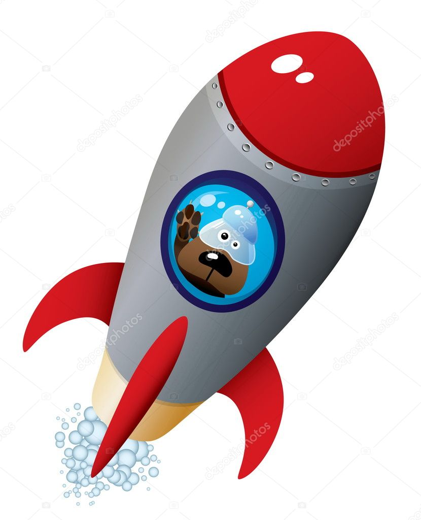 Cartoon Dog Astronaut In Old Style Spaceship — Stock Vector #4605069