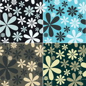 Retro Floral Pattern Set — Stock Vector