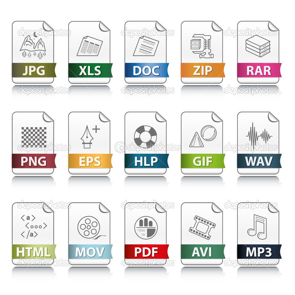 Set of file extension vector detailed icons  Stock Vector #4723343
