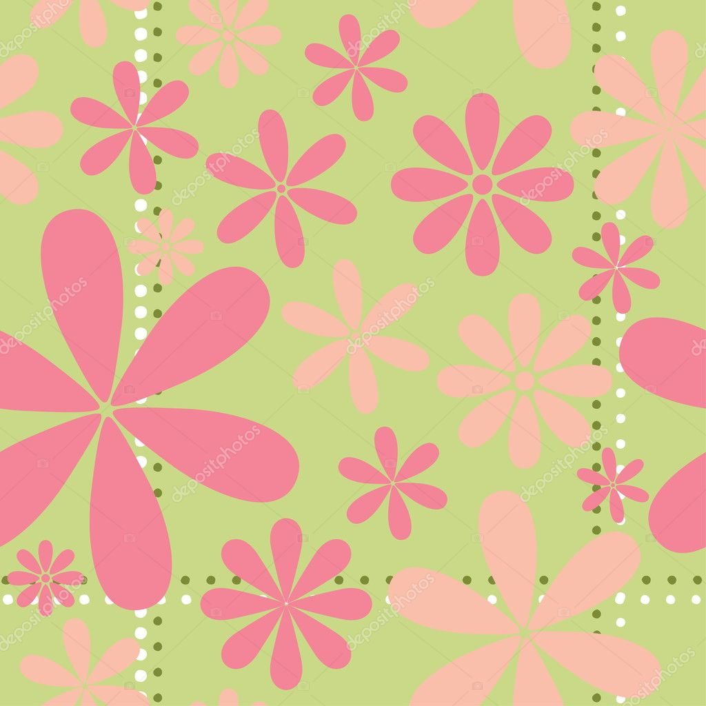 Pink Retro Floral Seamless Vector Pattern — Stock Vector #4723365