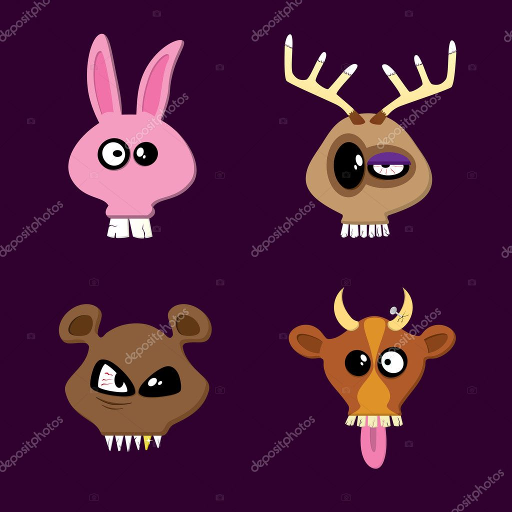 Rabbit, Reindeer, Bear and Cow. Happy Animals Collection Part One.  Stock Vector #4723402
