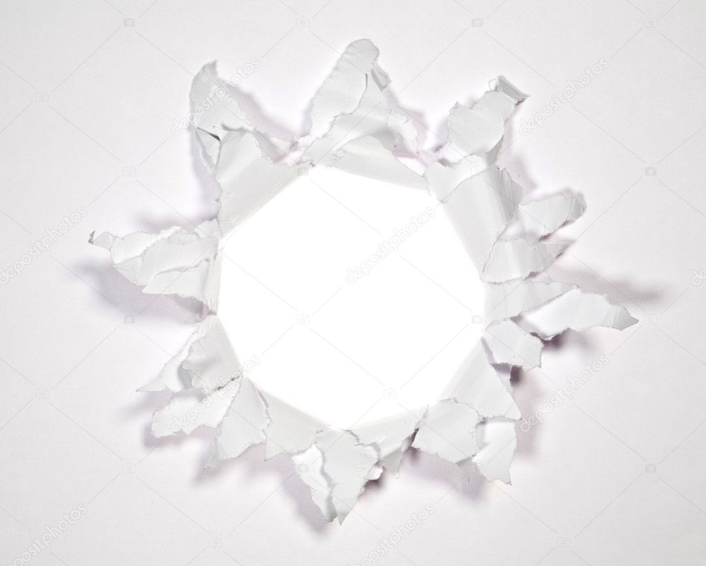 White Ripped Paper Hole