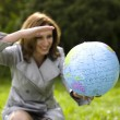 Woman and Globe — Stock Photo