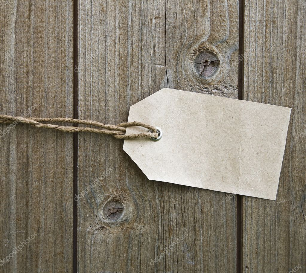 Blank Paper Price Tag On Wooden Background — Stockfoto #4831301