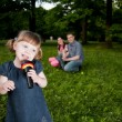 Girl With Microphone - Foto de Stock