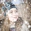 Woman And Snow - Stock Photo