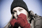 Agressieve vrouw portret — Stockfoto