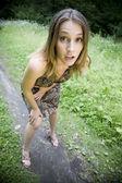 Ragazza sconvolta e sorpresa — Foto Stock