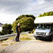 Man And His Motorhome — Stock Photo