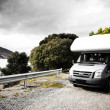 Stock Photo: motorhome on the road
