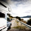 Foto Stock: Motor Home Near Lake