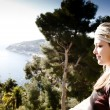 Beauty Woman Looking At Mediterranean Sea — Stock Photo