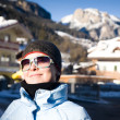 Happy Woman In Small Italian Alps Village - Stock Photo