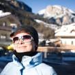 Happy Woman In Small Italian Alps Village — Stock Photo