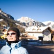 Pretty Woman In Alps Resort — Stock Photo