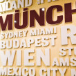 City Names On The Wall - Stock Photo