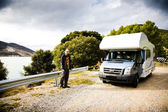 Man And His Motorhome — Foto de Stock