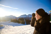 Young Woman In The Alps Mountains Looking Forward — Stock Photo