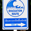 A tsunami warning sign - Stock Photo