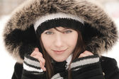 Beautiful young girl in the hood — 图库照片